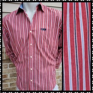 🔥Chaps Medium Mens button front red shirt casual